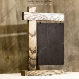 Тейбл-тент (меню-холдер) из дерева с информационной табличкой
