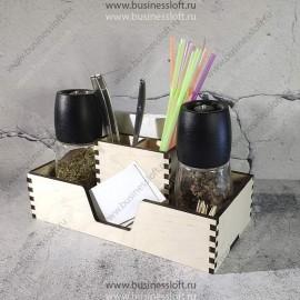 Деревянная коробка для ресторана с отделениями для салфеток, специй, визиток, зубочисток