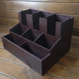 Организатор деревянный для кофейной зоны с отсеками для бумажных стаканчиков