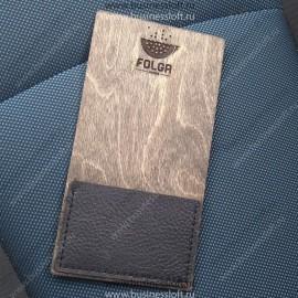 Деревянная счетница с прошитым карманом из натуральной кожи
