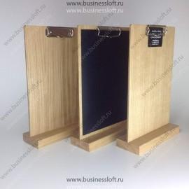 Менюхолдер планшет с зажимом на основании из массива дуба