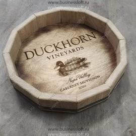 Винтажный деревянный поднос для ресторана из дубовой бочки