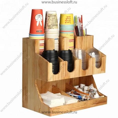 Накопитель для одноразовых стаканов и крышек для кафе 12 ячеек