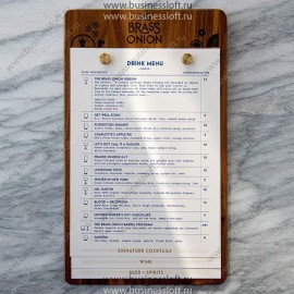 Деревянное меню для ресторана на болтах