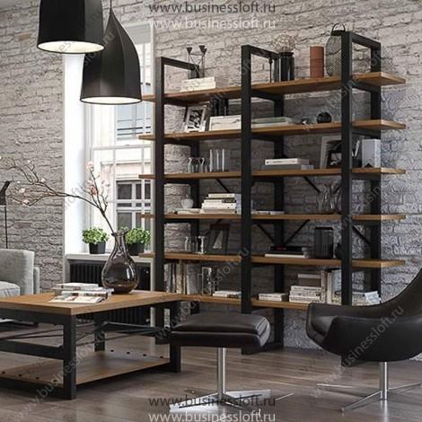 Большой напольный стеллаж в стиле Loft из дерева и металла