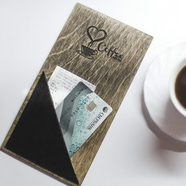 Папка счёт с кармашком из кожи для кафе